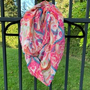 Pink Patterned Lightweight Infinity Scarf